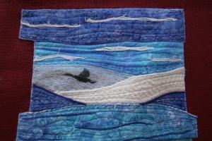 Art quilt with photos printed on fabric