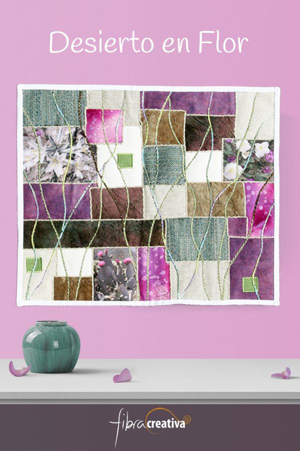art quilt desierto en flor rosa beig Fibra Creativa