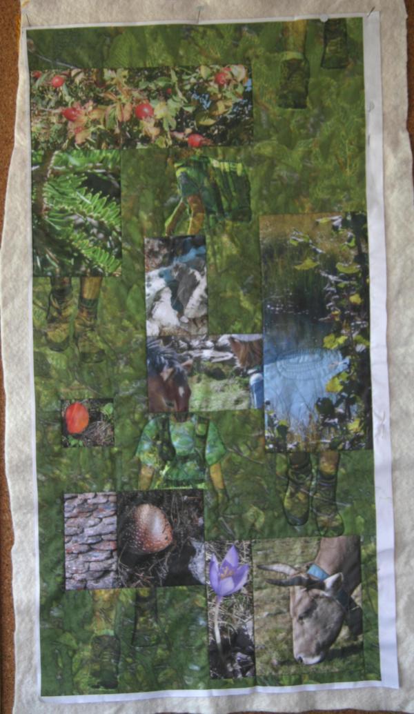"art quilt con fotos impresas ""Excursión"""