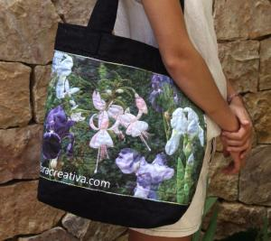 tote bag with printed photos