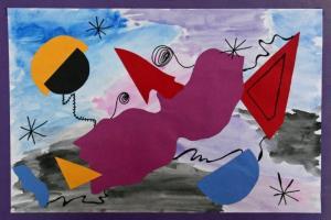 Dibujo infantil estilo Miró impreso sobre tela