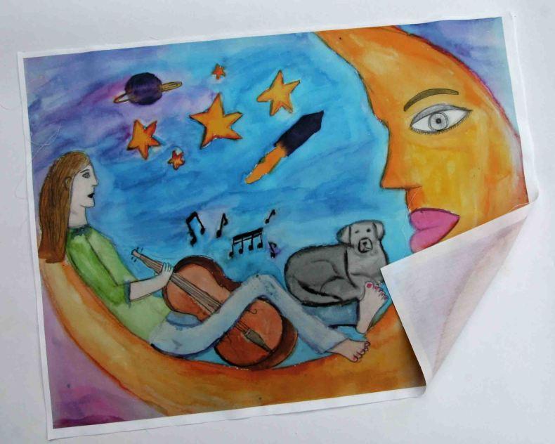 Dibujo infantil impreso sobre tela
