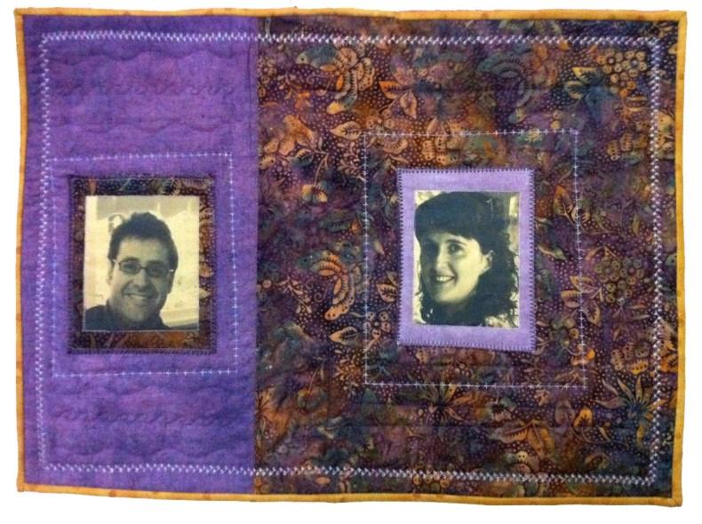 patchwork con fotos de joven pareja y batik