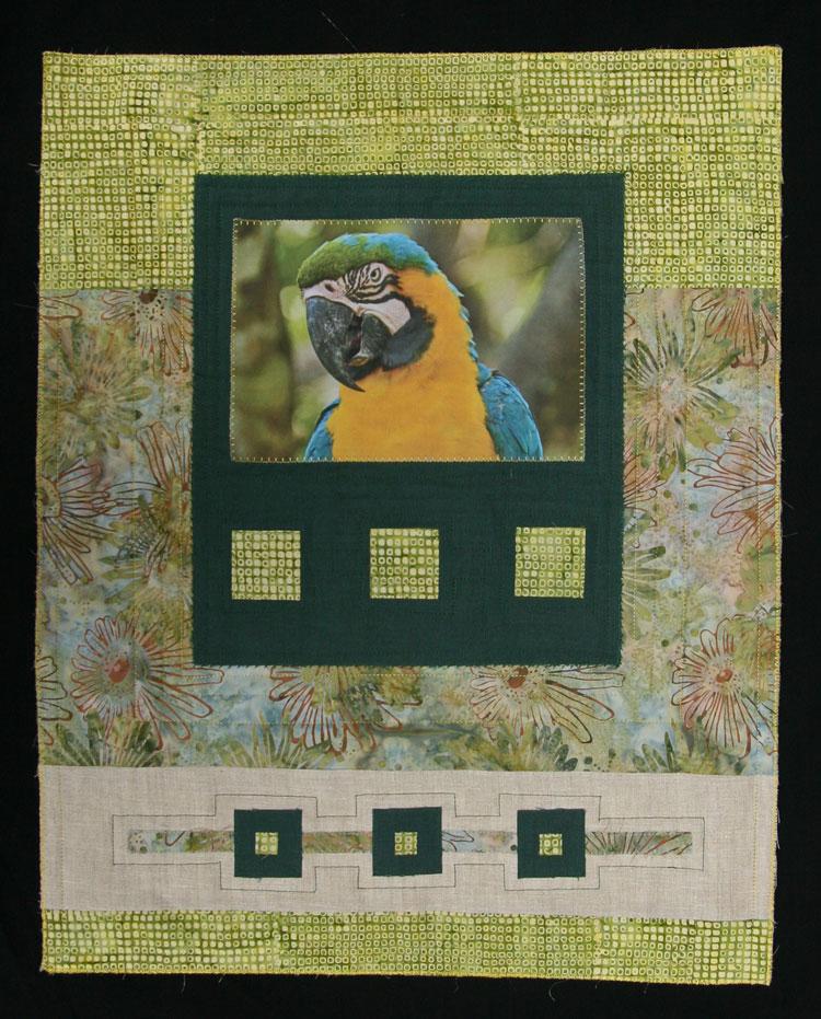 mini patchwork con foto de pájaro papagayo impresa en tela