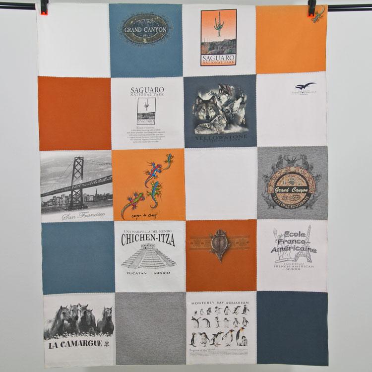 quilt de camisetas recicladas
