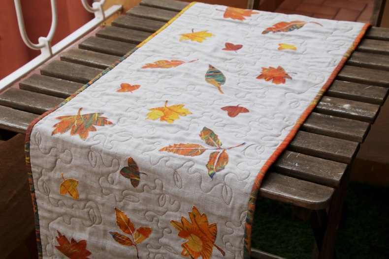 camino de mesa patchwork de otoño de lino