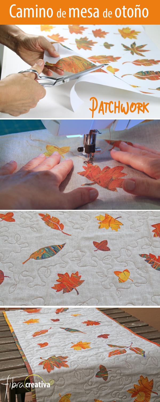 como hacer un camino de mesa de patchwork de otoño en lino con hojas aplicadas