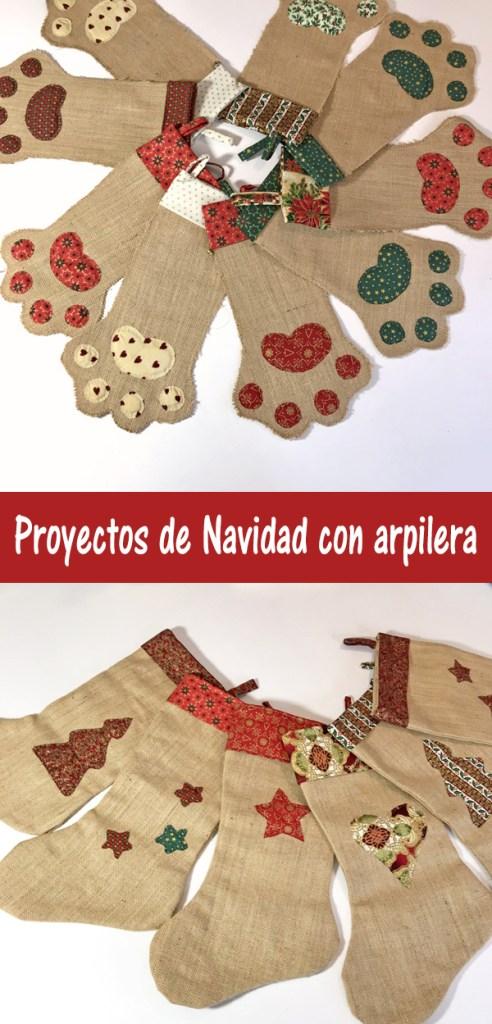proyectos de navidad DIY con arpillera