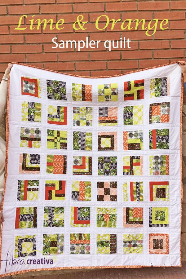 Quilt sampler de patchwork couleurs acidulées vert lime et orange