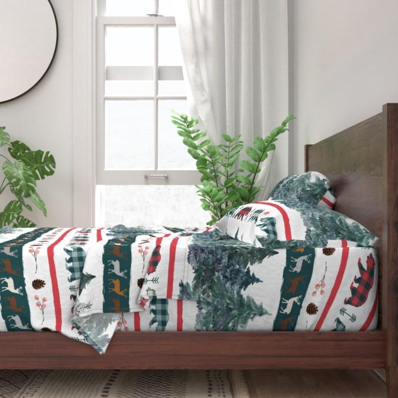 draps et oreillers parure de lit de Noël Fibra Creativa