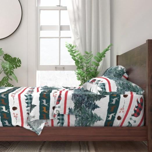 Ropa de cama sábanas navideñas colección Navidad en la Selva de Fibra Creativa