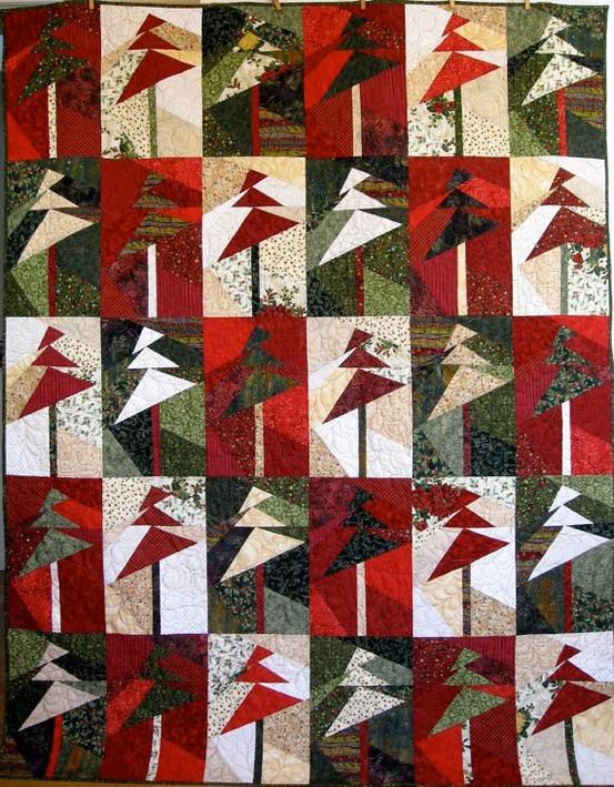 quilt de sapins de noel rouge vert