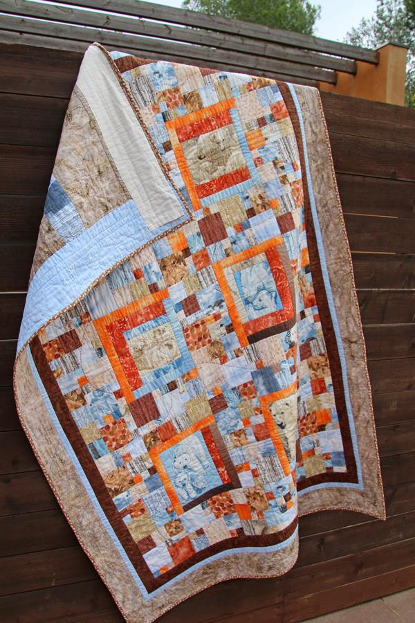 colcha de patchwork osos polares colores de invierno azul marron beige naranja Fibra Creativa