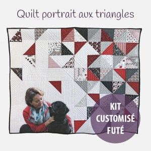 kit de patchwork quilt portrait moderne avec triangles Fibra Creativa
