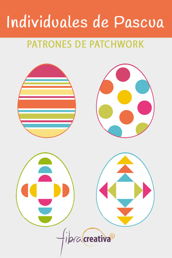 individuales de patchwork para Pascua en forma de huevo