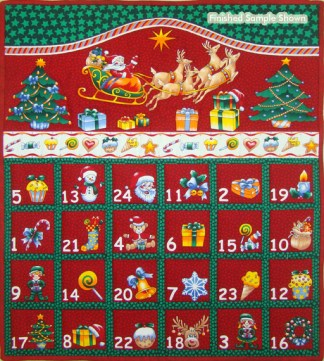 Folded Christmas Advent Calendar Panel - Red