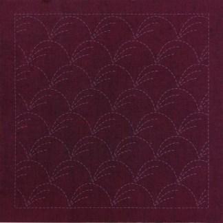 Sashiko Panel Nowaki Grasses No.INS1-Cherry Red