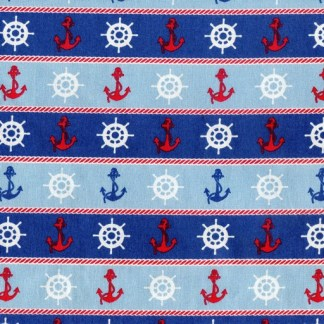 Ships Wheels and Anchors - Blue B2119-12