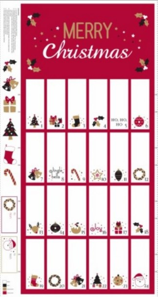 Advent Calendar Panel - Red and Metallic Gold