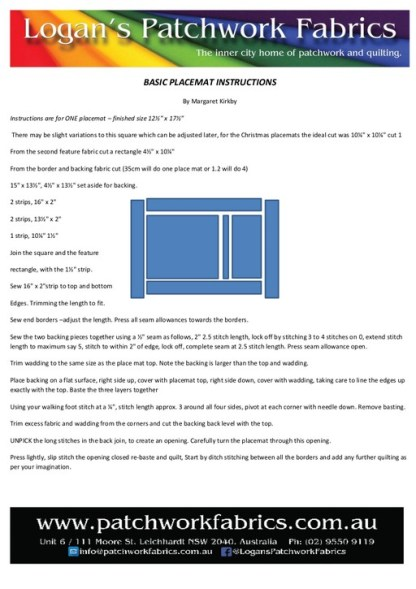 Basic Placemat Instructions - Free Download