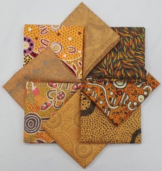 Aboriginal Art Fat Quarter Bundle - Yellow