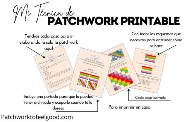 PDF del patchwork Cuadros en Diagonal de Colores