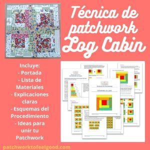 Técnica de Patchwork Log Cabin