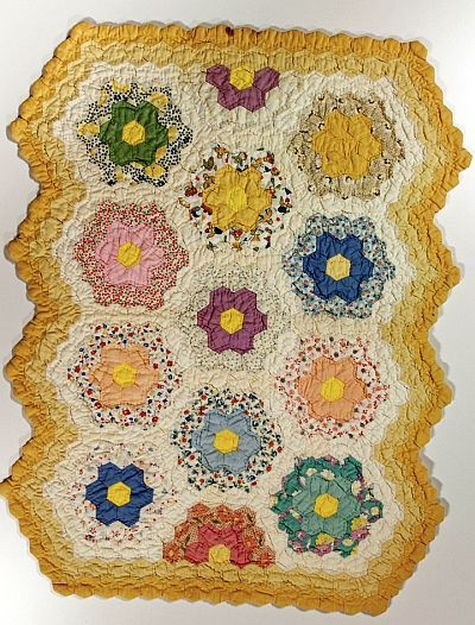 Grandmother's Flower Garden Doll Quilt - 1920-40's.