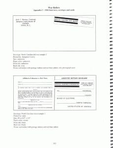 North Carolina State Ballot Return Envelope Type 2