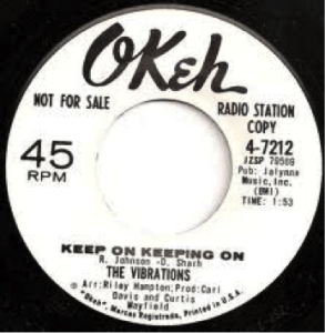 Okeh Post World War II label in a 45-format.