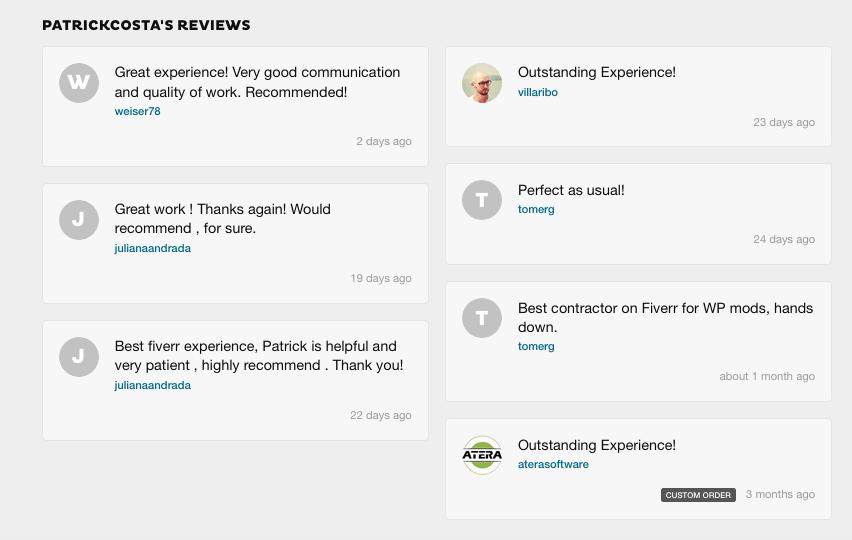 Fiverr Reviews Pat Costa
