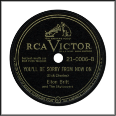 Record Label: 1946 as identified with RCA-Victor label. May be seen in blue (Bluebird Series), Red, Black, or Silver and Black. Note the circles on edge.
