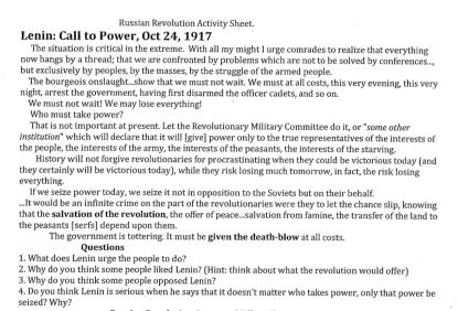 Russian Revolution Lenins Call to Power Speech