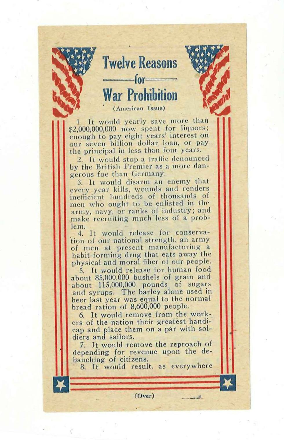 12 reasons for war prohibition front