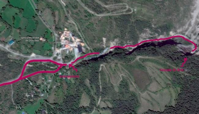 Mapa de la ruta de Orós Bajo a la cascada