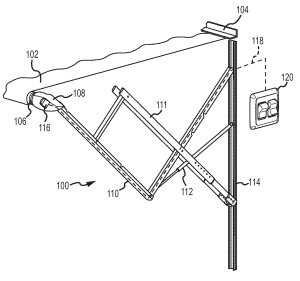Patent US20110048651  Awning control with multidimensional motion sensing  Google Patents
