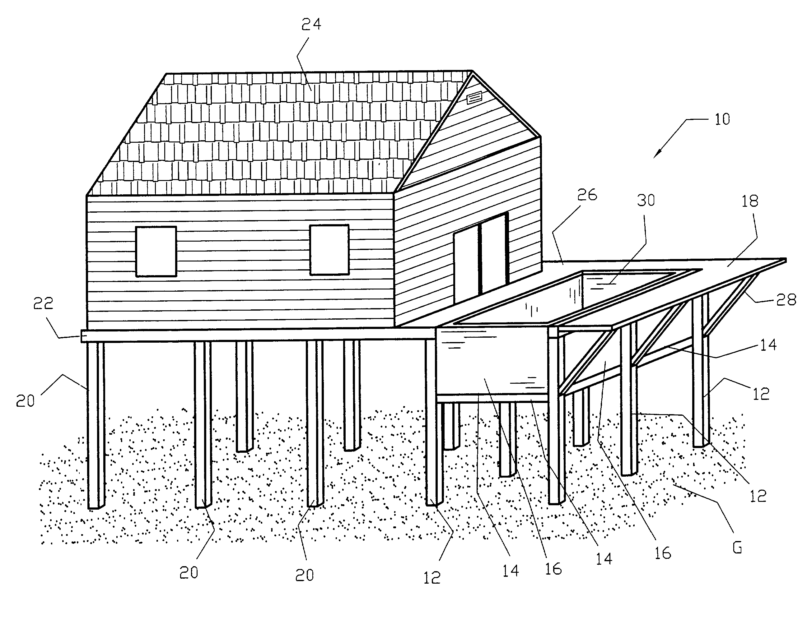 Coloring page stilts house