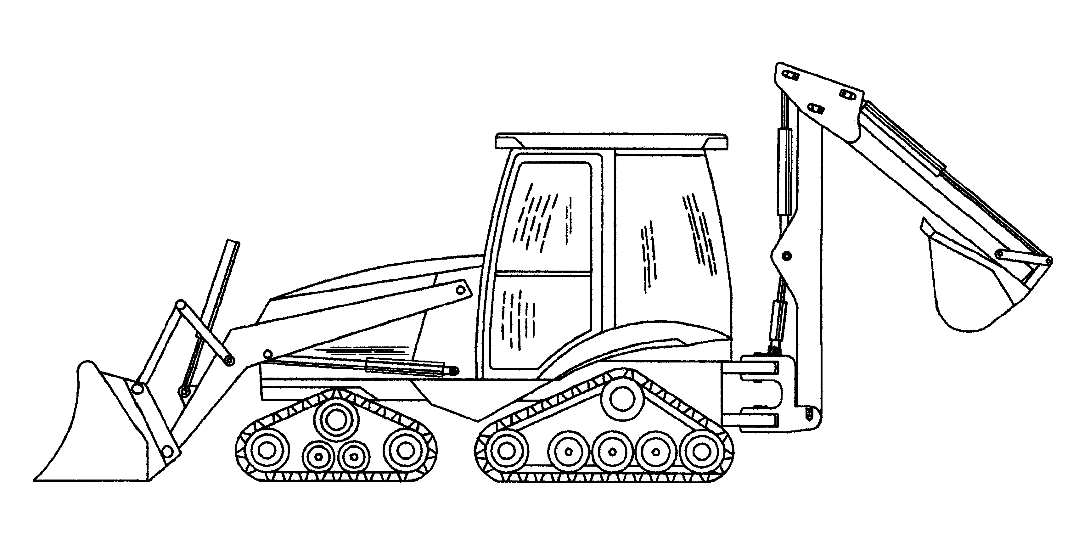 Drawing Loader Backhoe Sketch Coloring Page