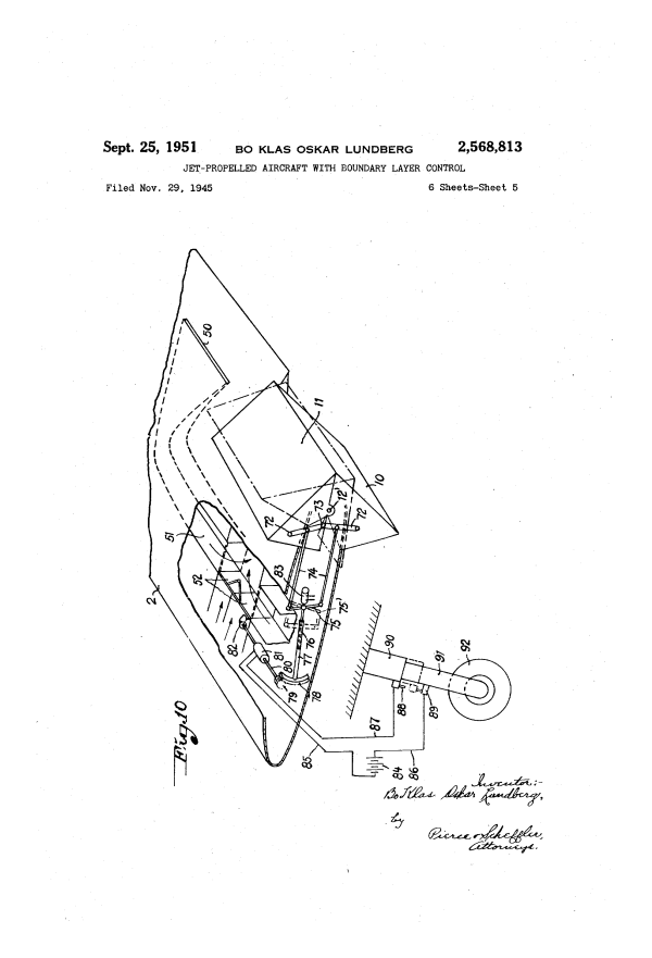 Patent US2568813 - Jet-propelled aircraft with boundary ...