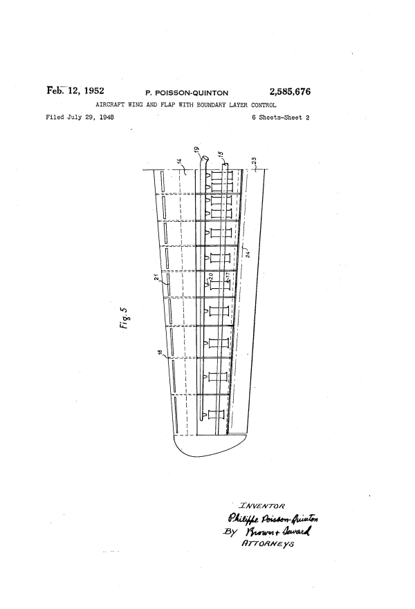 Patent US2585676 - Aircraft wing and flap with boundary ...
