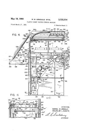 Patent US3133314  Plastic sheet vacuum forming machine  Google Patentsuche