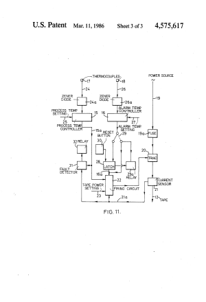 Patent US4575617  Heat tracing tape and power control
