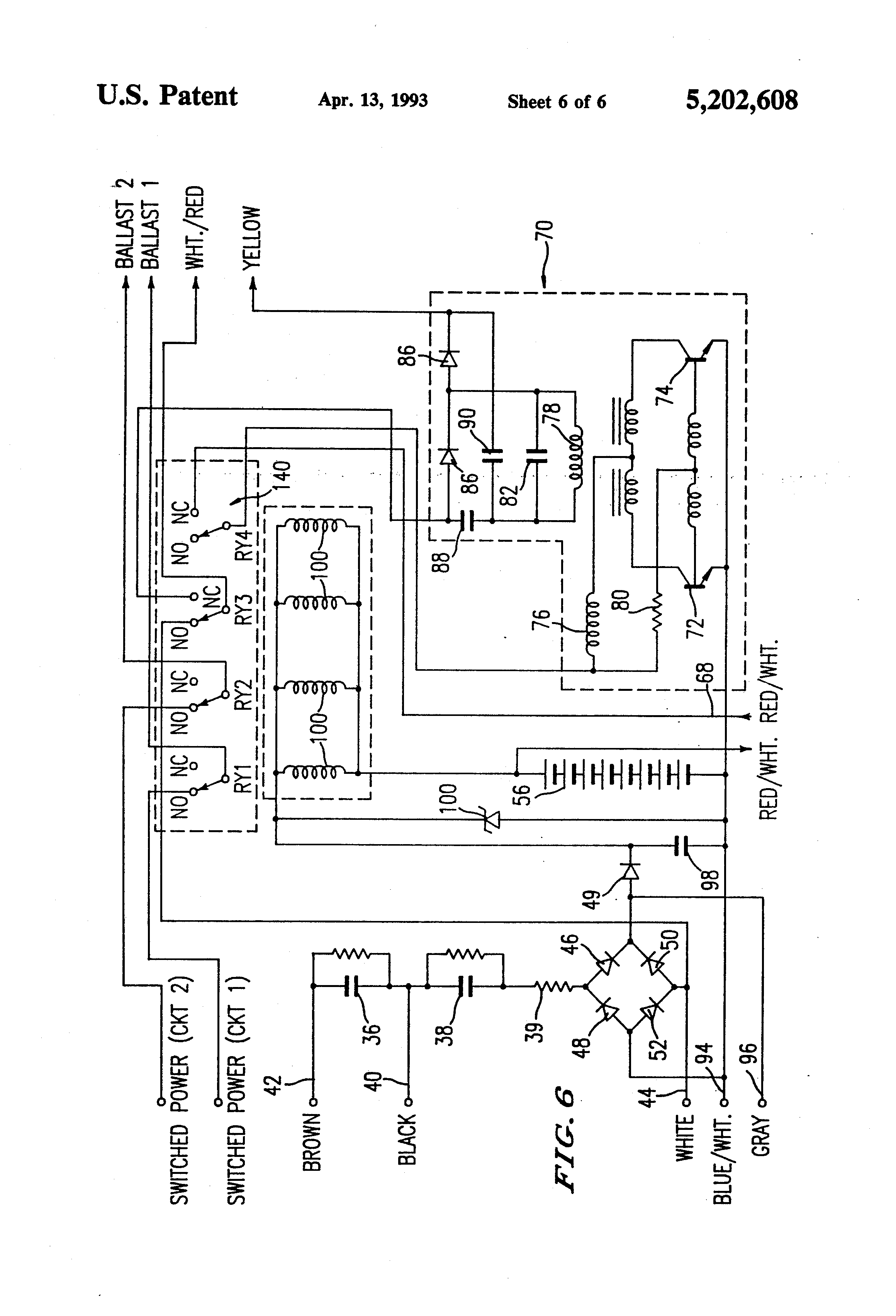 US5202608 6 bodine ballast wiring diagram 2 lamp ballast wiring diagram  at honlapkeszites.co