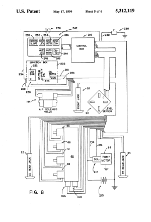 Patent US5312119  Vehicle leveling system with safety