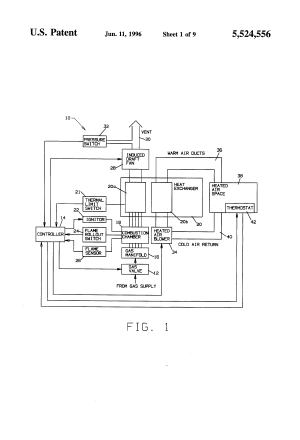 Patent US5524556  Induced draft fan control for use with