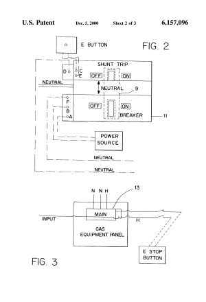 Patent US6157096  Neutral switched shunt trip emergency