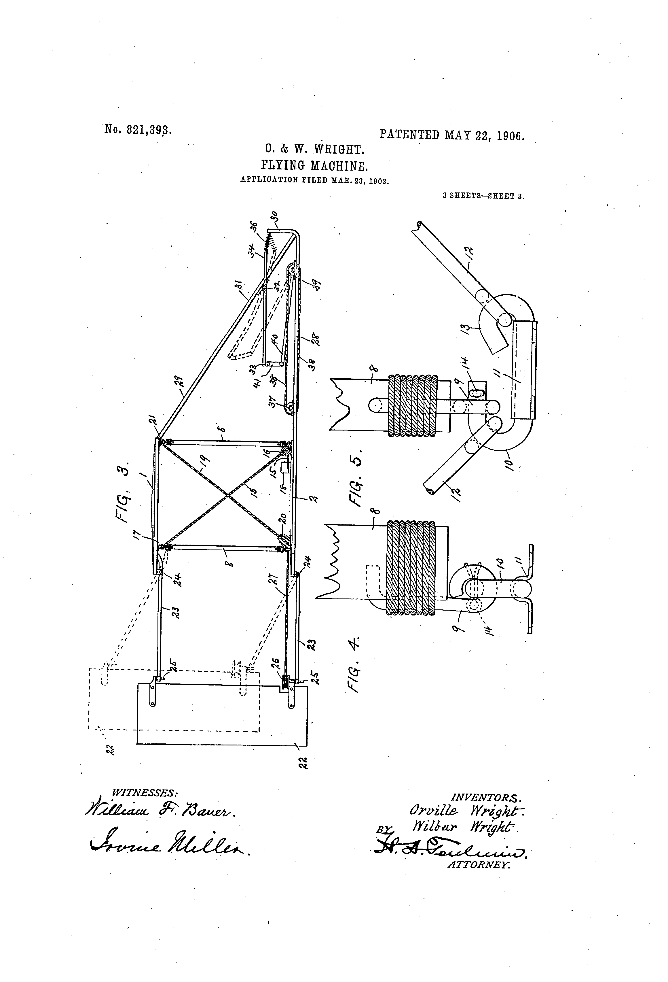 Page 3 of drawings for Wright Brothers patent of a flying machine