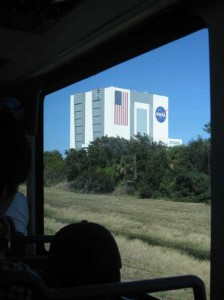 Typical of the Kennedy Space Center tour - looking at a large building, from a distance, in a bus.