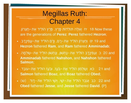 We start with the Genealogy in Ruth - this takes us from Nachshon, brother-in-law to Aaron who was at the Exodus itself.
