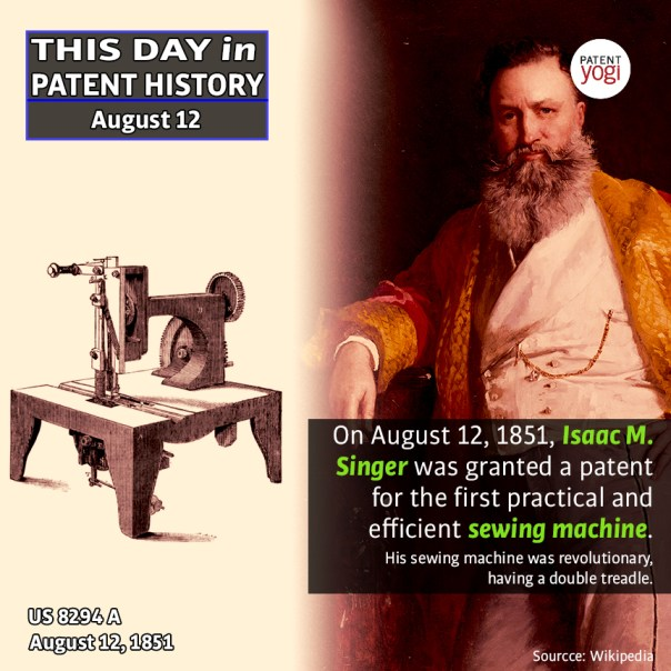 Image result for Isaac Singer is granted a patent for his sewing machine
